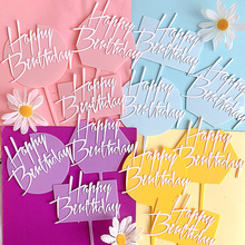 New Acrylic Happy Birthday Cake Topper Cute Candy Colors Cupcake Topper For Baby Shower Girls Birthday Party Cake Decorations