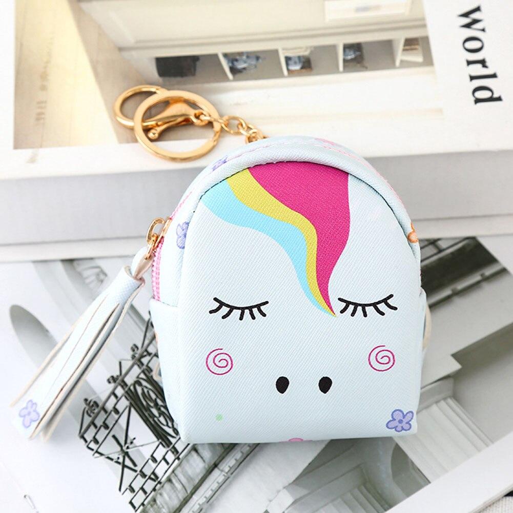 Kawaii Unicorn Mini Coin Purse Zipper Bag Keychain Cute Wallet Pouch
