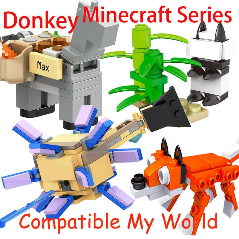 Legoing Minecraft Animal Set Spider Donkey Elder Guardian Zombie Steve Ghast Enderman Figures Blocks My World Minecraft Diy Toys