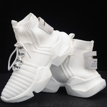 Platform-Sneakers Chunky Trainers Casual-Shoes High-Top Knitted Black Autumn White Women