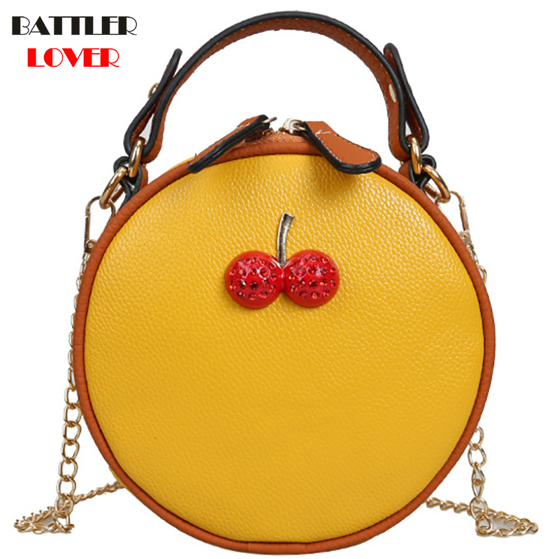 NEW Circular Cherry Design Women Shoulder Bag Leather Crossbody Messenger Bags Female Round Bolsa Bag Fashion Ladies Handbag