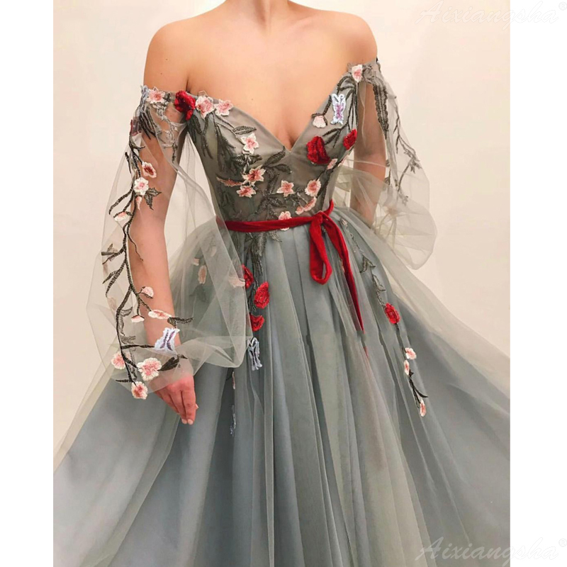 Gray Muslim Evening Dress 2019 Off Shoulder Embroidery Tulle Islamic Dubai Kaftan Saudi Arabic Long Sleeves Evening Gown Prom