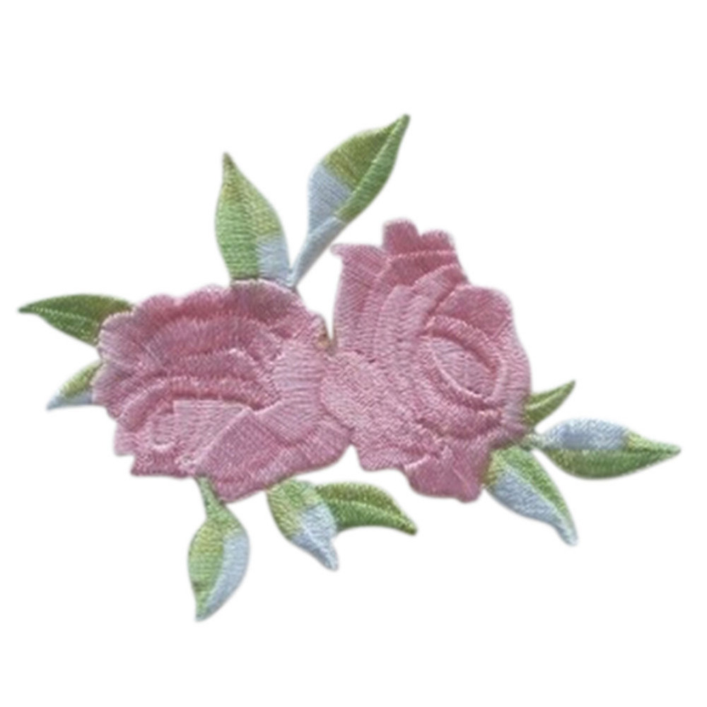 NEW 1Pc Double Head Rose Flower Leaves Embroidery Iron On Applique Patch Sew On Patch Craft Sewing Repair Embroidered Wholesale