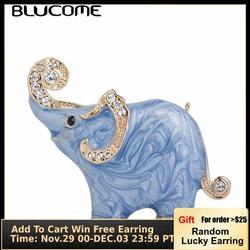 Blucome Новое поступление милая синяя текстура Эмаль Слон Форма Брошь заколки кристаллы Броши для женщин дети шарф одежда ювелирные изделия