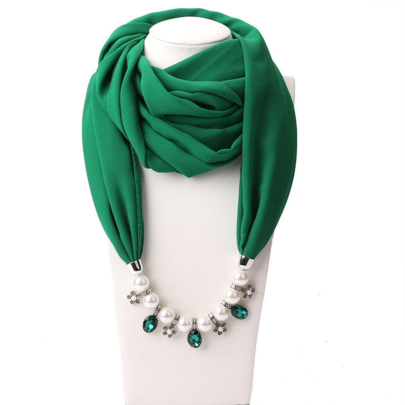 2020 Fashion New Solid Jewelry Statement Necklace Pendant Scarf Head Scarves Women Foulard Femme Accessories Muslim Hijab Stores