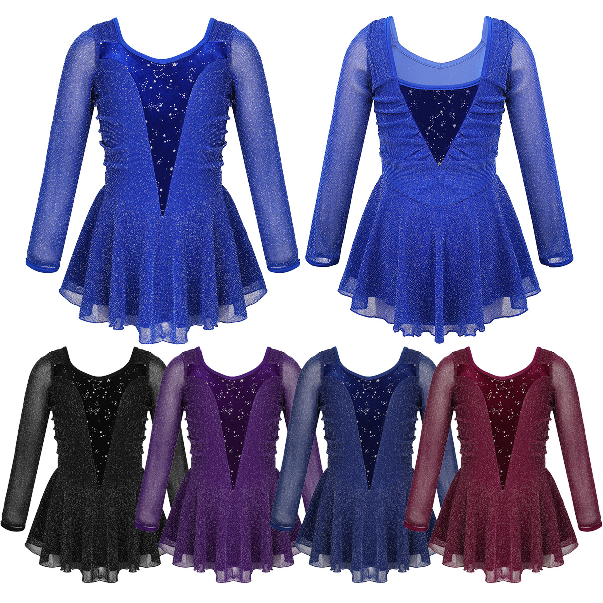 Kids Girls Shiny Stretchy Velvet Roller Ice Skating Dress Figure Skating Dress Tutu Dance Wear Gymnastics Leotard Costumes