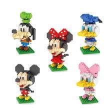 Fairy Tales Fairyland micro diamond building block Mickey Minnie Donald Daisy Goofy figures mouse duck dog nano bricks toys(China)