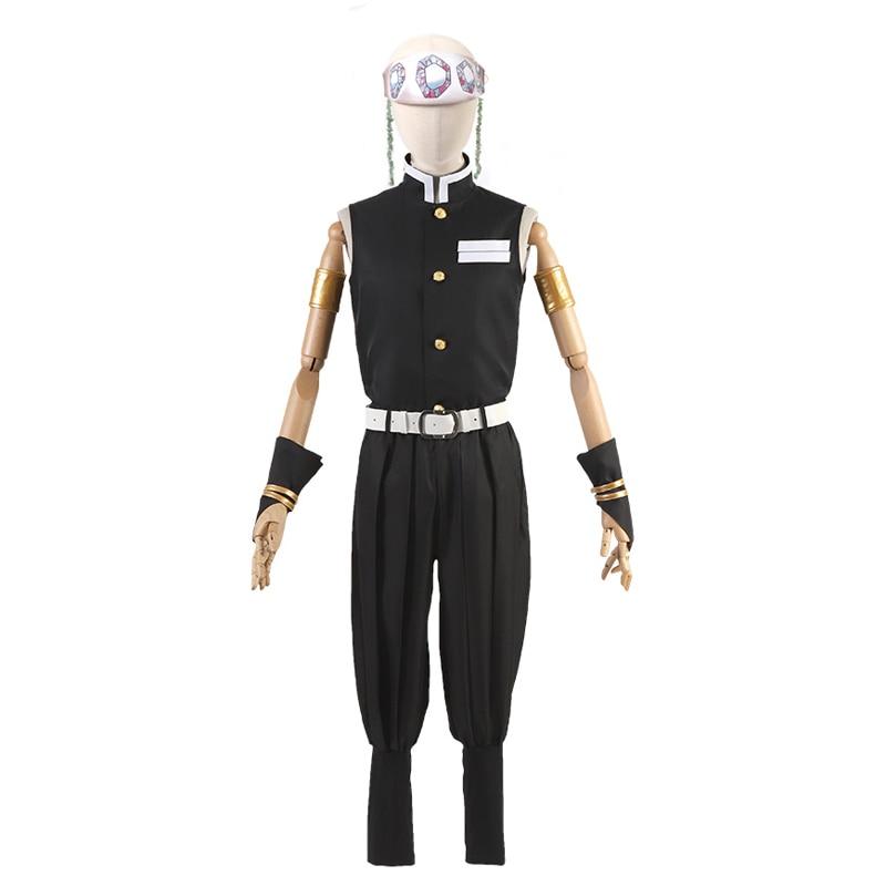 Anime Demon Slayer Kimetsu no Yaiba Uzui Tengen Cosplay Costume Team Uniform Halloween Costumes with head piece freeship New