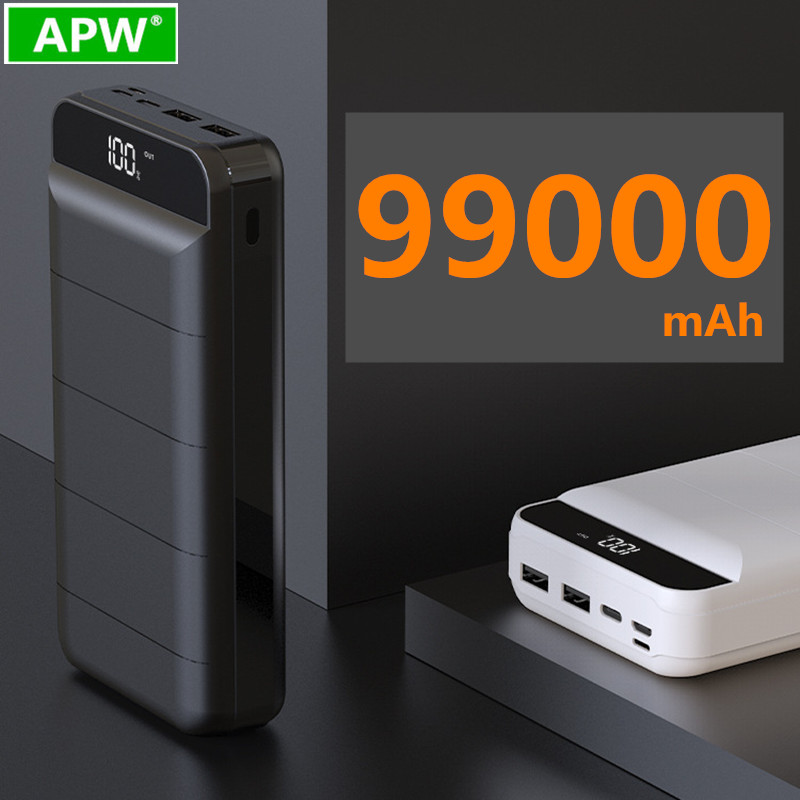 99000mah Power Bank External Battery PoverBank 2 USB LED Powerbank Portable Mobile phone Charger for Xiaomi MI iphone 8 X Huawei title=