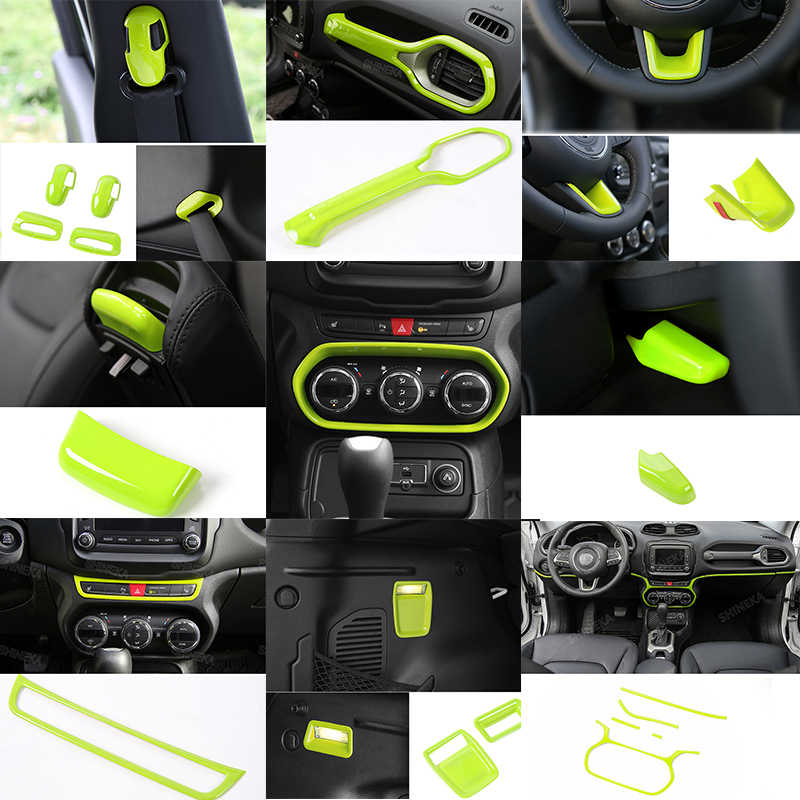 Compass 2017+ ABS Plastic Engine Start Stop Push Button Ring Decal Frame Trim Cover for Jeep Renegade 2015 Green