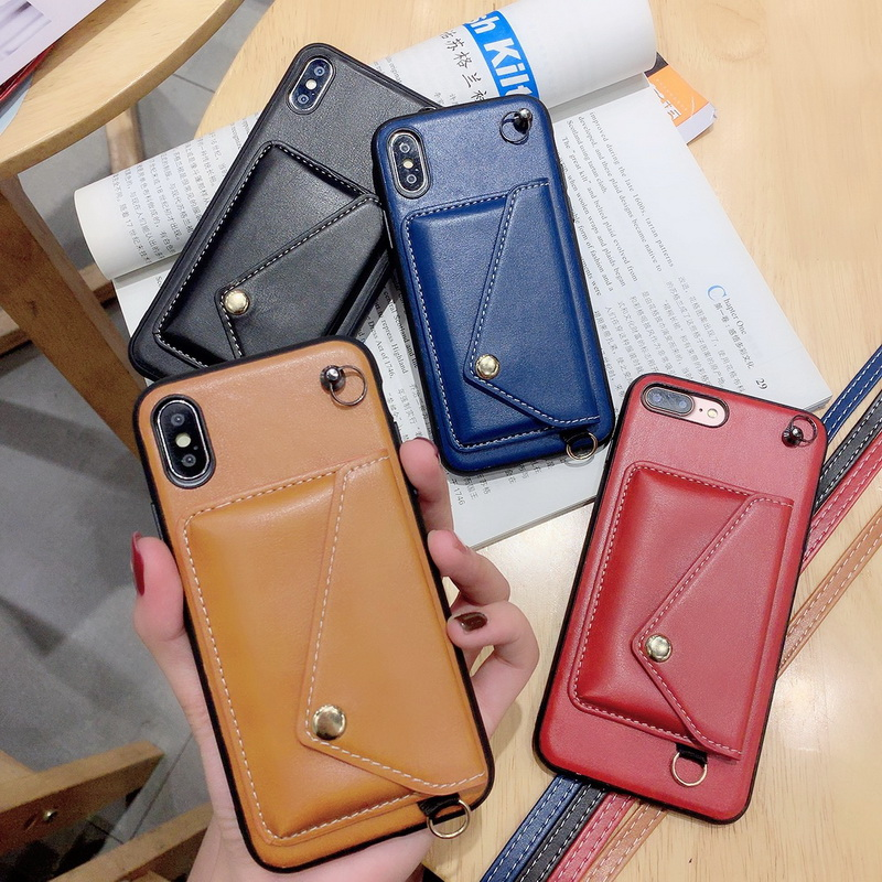 Leather Wallet Card Holder Back Case Cover For Samsung S9 10 Plus 10E Note 10 Shoulder Strap Case For iPhone 7 8Plus X XR XSMax