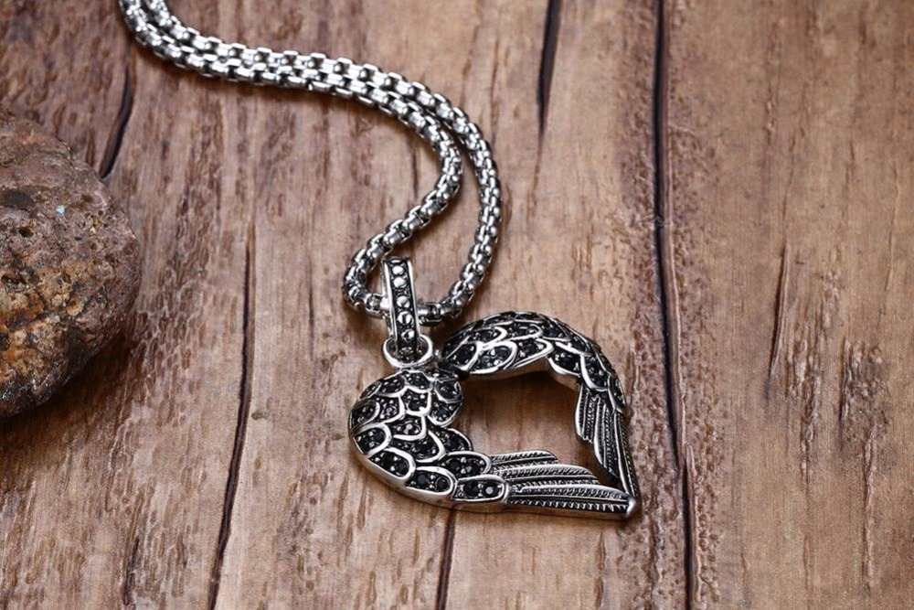 Fashion Punk Mens Necklaces Pendant Stainless Steel Black Tone Crystal Guardian Angel Heart Wings_Wing  Necklace Gift for Women Teens Girls Boys colar Choker 13