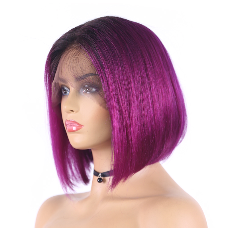 Brazilian Straight Ombre Purple 13X4 Lace Front Human Hair Wigs Short Bob 150% Lace Wigs Remy Human Hair Wig For Women