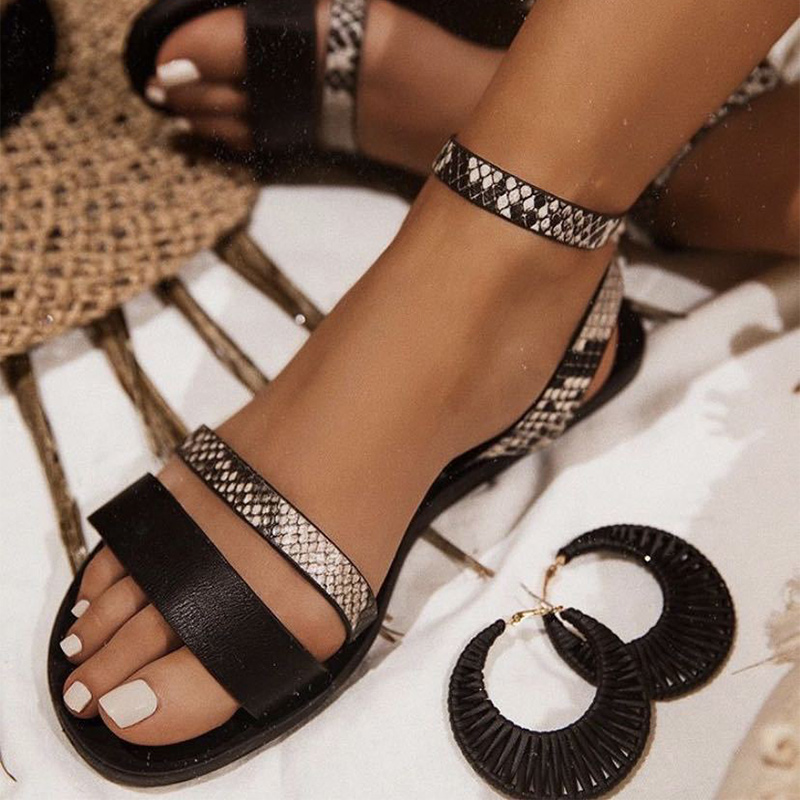 Women Sandals Woman Summer Shoes Snake Print Narrow Band Flat Female Ankle Buckle Fashion Shoes Women
