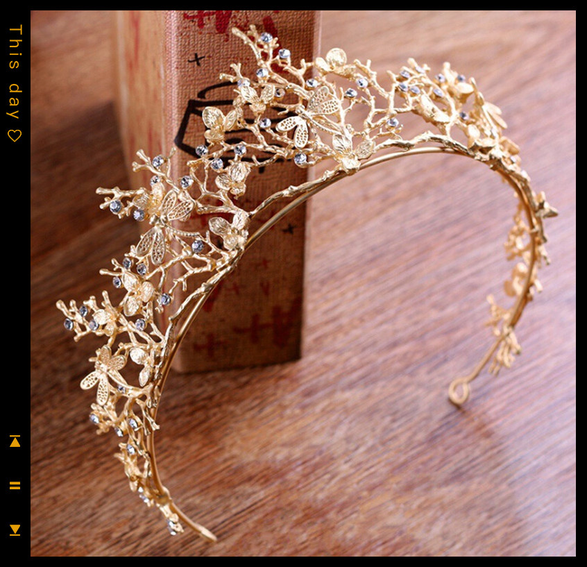 NEW Gold Color Crystal Crowns Bride Tiara Fashion Headpiece Wedding Crown Branches Wedding Hair Jewelry