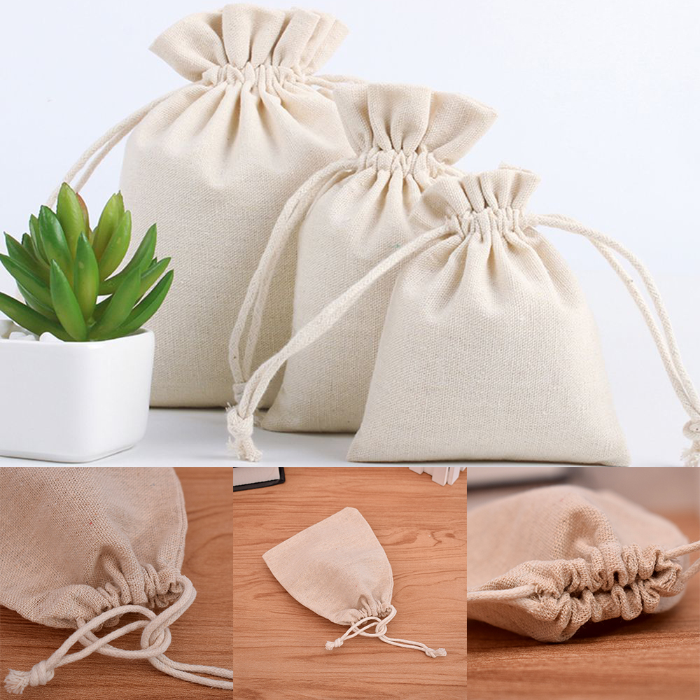 1Pc Cotton Fabric Drawstring Storage Bag Food Underwear Socks Jewelry Organizer Kitchen Environmental Flour Rice Holder