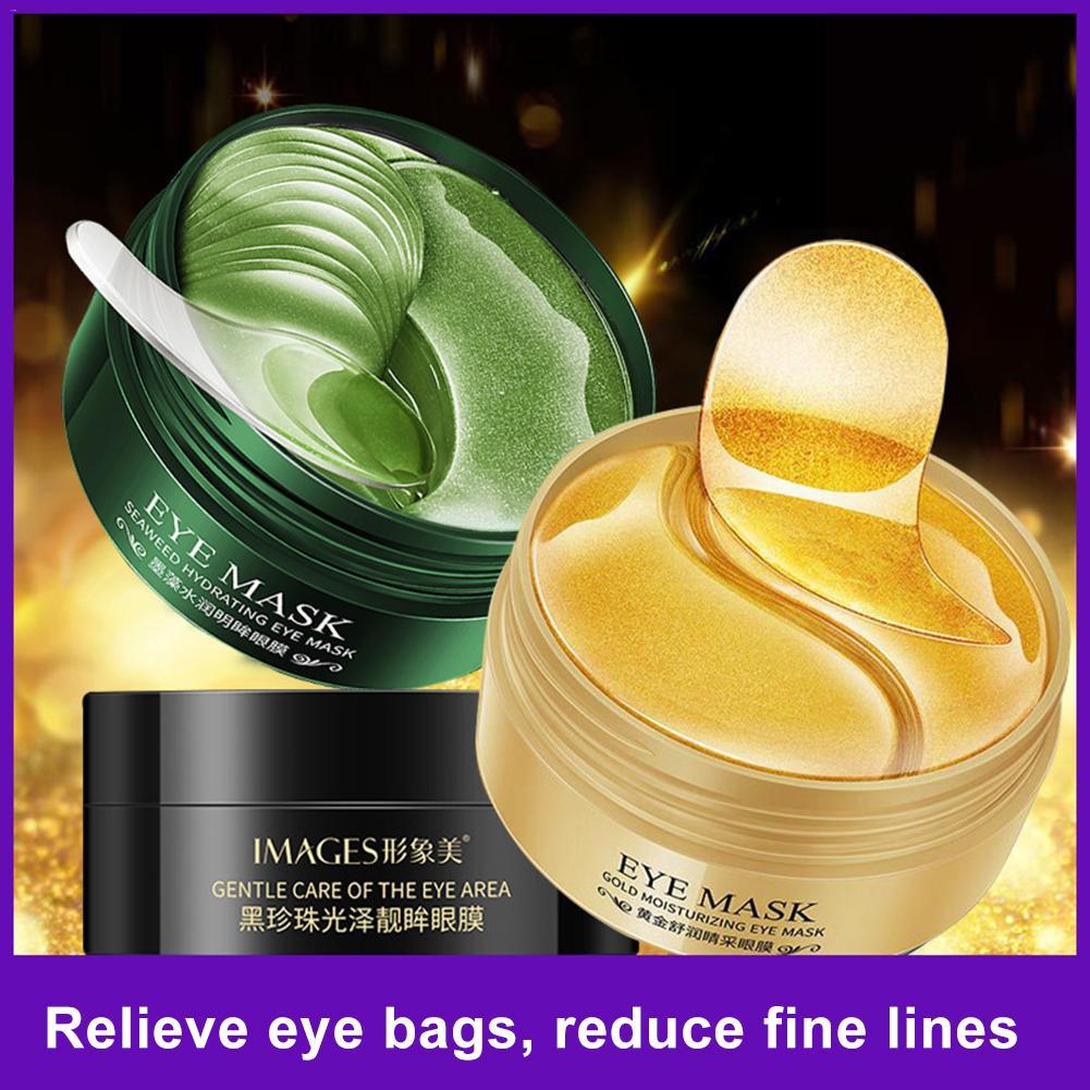 Plant - 60pcs Gold/Seaweed/Black Pearl Collagen Eye Mask Face Anti Wrinkle Gel Sleep Mask Eye Patches Moisturizing Eye Mask Eye Care