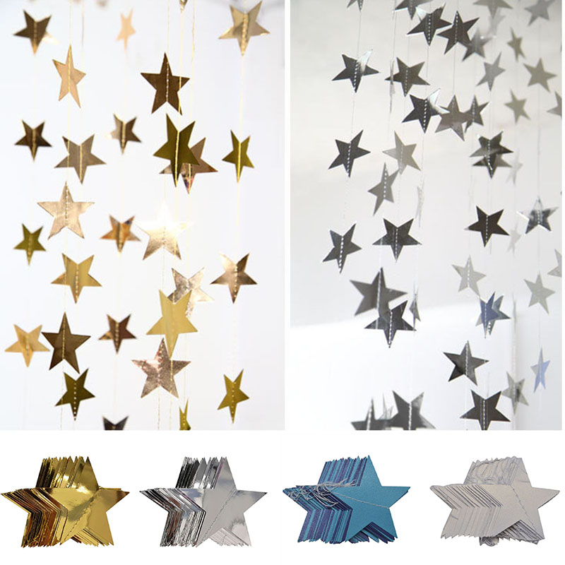 4M 7/10CM Shining Star Paper Drop Garland Banner Gold Silver Bunting Banner For Baby Shower Kids Room Wedding Hanging Decoration