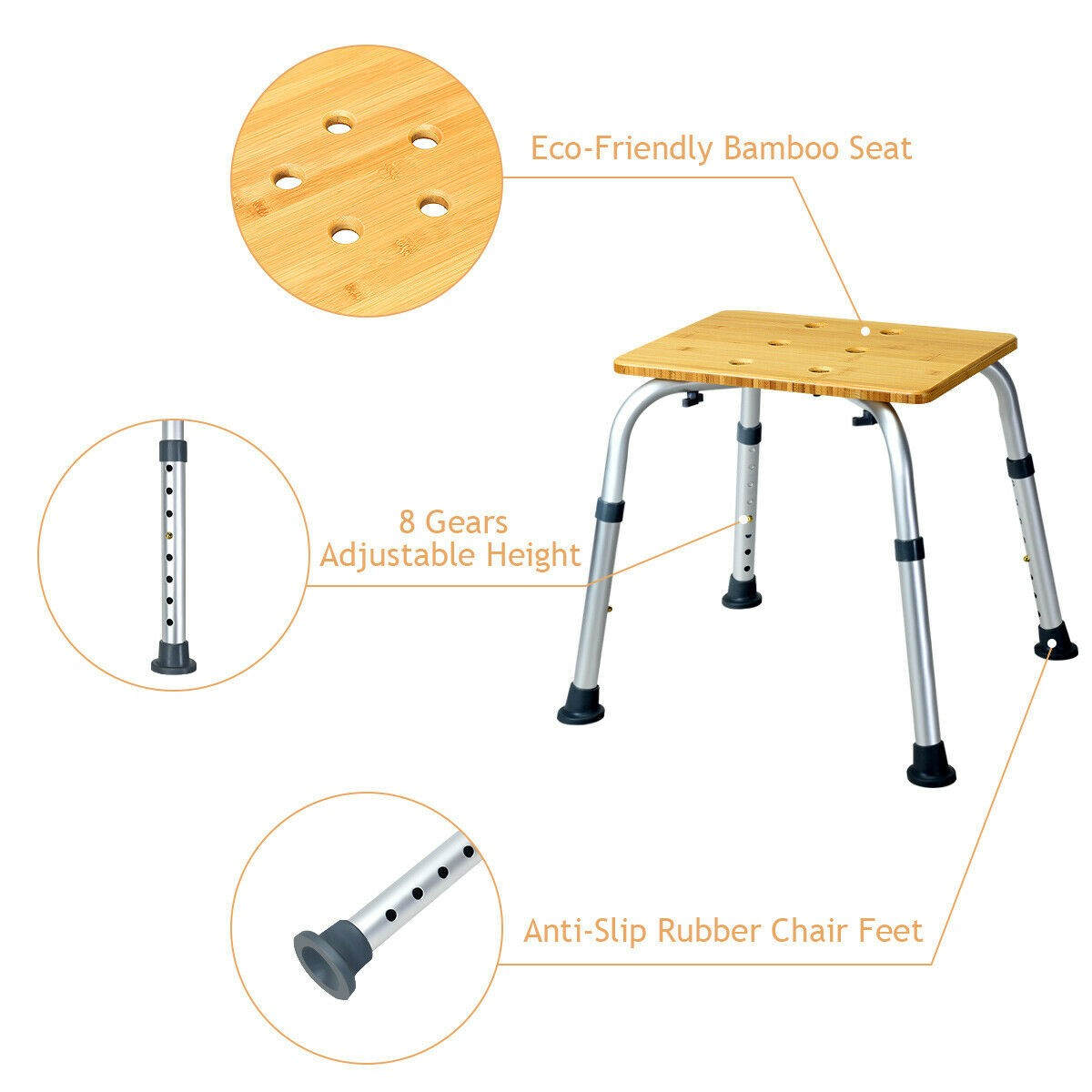 Furniture - Square Shaped Multifunctional Bamboo Bath Seat Shower Chair Adjustable Non Slip Rubber Feet Rust-proof Aluminum Frame Chair