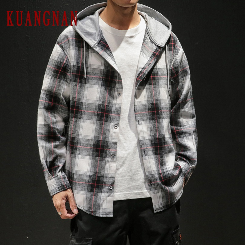 KUANGNAN Hood Shirt Men Fashions Men Shirt Long Sleeve Mens Shirts Casual Slim Fit 5XL Streetwear 2019 Autumn New