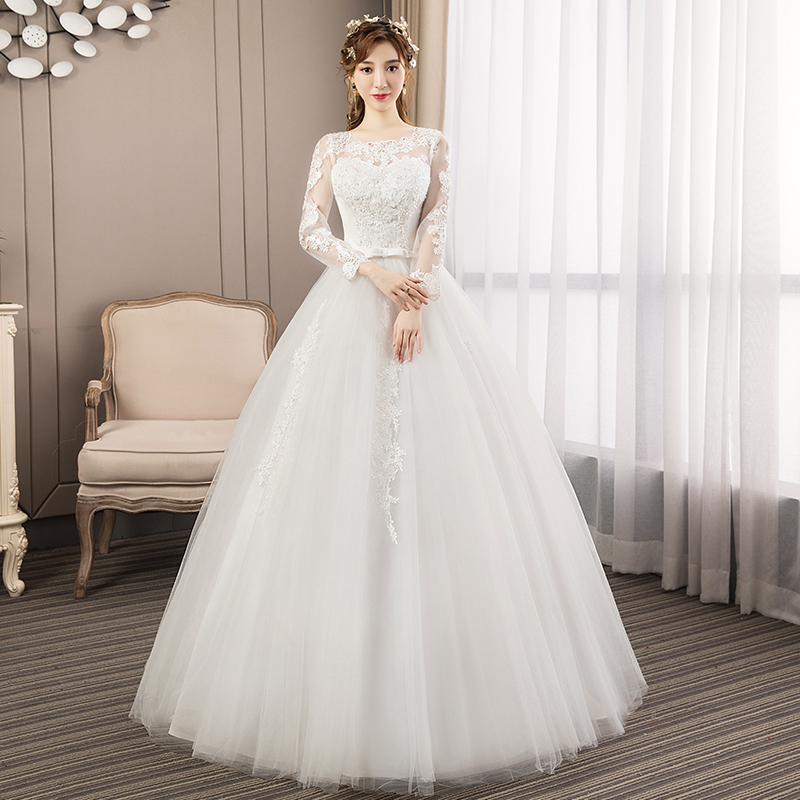 Wedding Dress New Style Women Long Sleeve Lace Up Plus Size Wedding Dresses Bride Dream Princess Dresses Ball Gowns