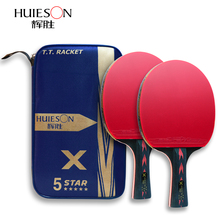 Racket-Set Paddle Carbon-Table-Tennis Ping-Pong Huieson Powerful 5 with Good-Control