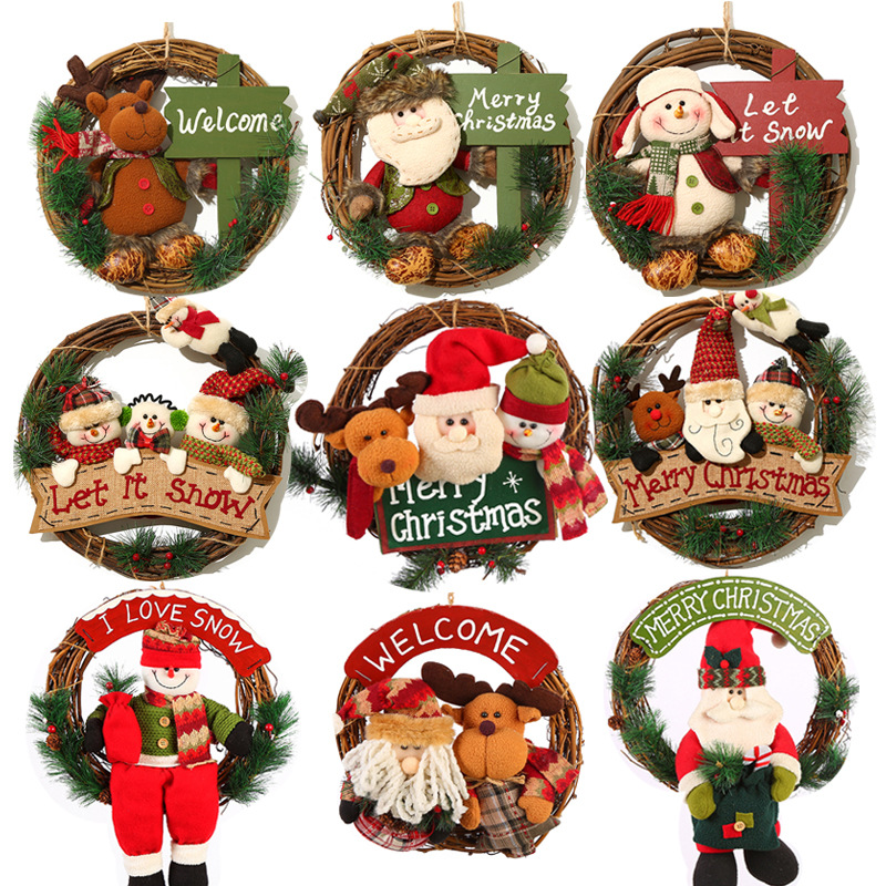 Chunky Knitted Christmas Wreath Xmas Party Decor Tree Wall Door Yarn Hanging US