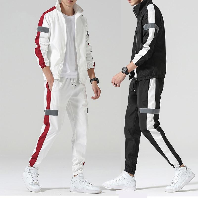 Мужской спортивный костюм на молнии, куртка с длинными рукавами и штаны, комплект повседневной уличной одежды для спортзала, 2020