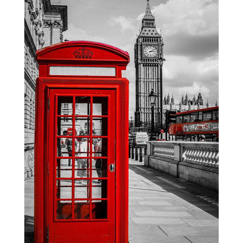 5D DIY Diamond Painting Landscape London Red Telephone Booth,Red Bus Mosaic Cross Stitch Embroidery Scenery Big Ben