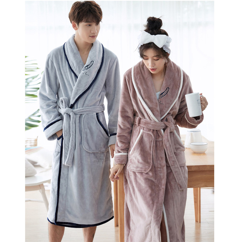 Winter Thick Warm Women Coral Fleece Kimono Robe Lovers Couple Nightgown Bath Gown Sleepwear Men Large Nightwear 3XL