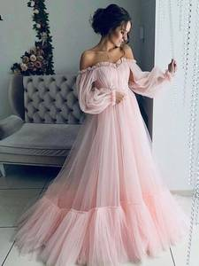 Prom-Gowns Party-Dress Long-Sleeves Beautiful Custom-Made Elegant Pink Cheap-Price NBS017
