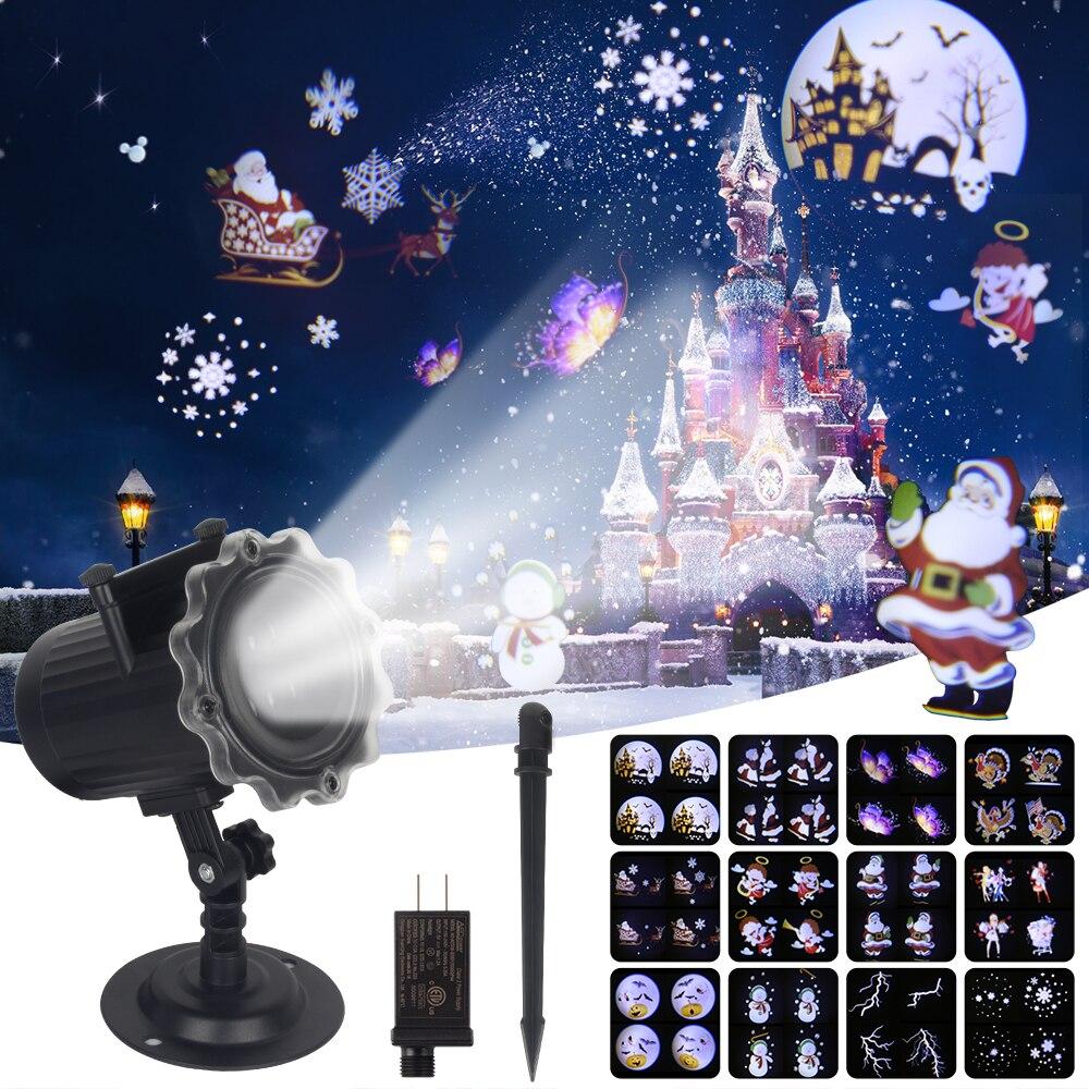 12 Muster LED Laser Licht Projektor Lichteffekt Weihnacht Außenbeleuchtung IP65