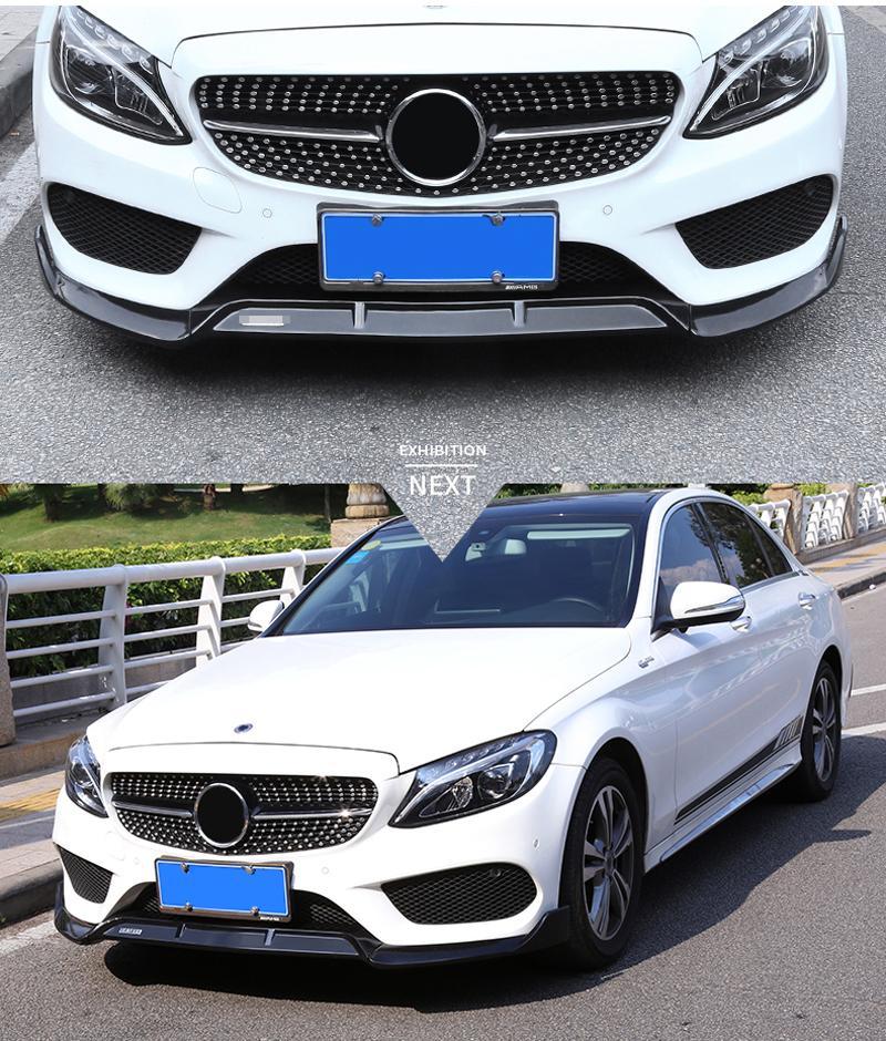 Spoiler Frontsto/ßstange Lip Splitter Spoiler Gepasst Fit for Mercedes Benz C-Klasse W205 C180 C200 C220 C250 C300 C350 C400 C450 AMG C43 C63 Zubeh/ör Color Name : A Carbon Fiber Style