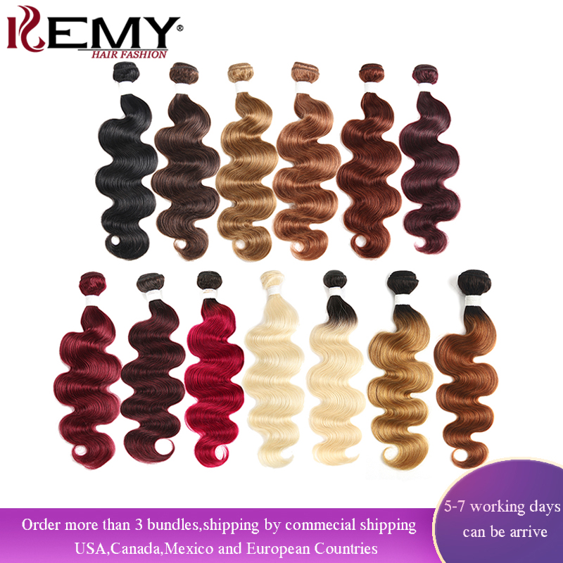 Weave Bundles Human-Hair-Extension Blond Brown Body-Wave Non-Remy-Hair Red-Color Brazilian title=