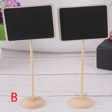 Rectangle Mini Small Wooden Chalk Blackboard Wedding Kitchen Restaurant Signs Chalkboard Writing Notice Message Paint Wood Board(China)