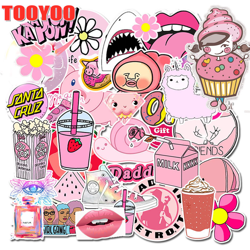 50 Pcs/set Kawaii Pink Vsco Girl Cartoon  PVC Waterproof Stickers For Suitcase Stickers Suitcase And Car Decals Sticker