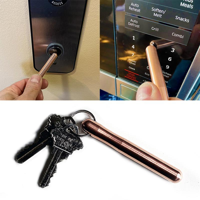Hand Brass Door Opener Closer No-Touch Press Elevator Hand Stick Health Protection Personalized Keychain 1PCS Mini Self-Cleaning Reusable Handle Tools Door Opener Press Elevator Hand Stick