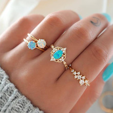 4 Pcs/set New Fashion Gold Color Opal Crystal Rings Set for Women Moon Flower Crown Finger Ring 2019 Female Ring Party Jewelry(China)