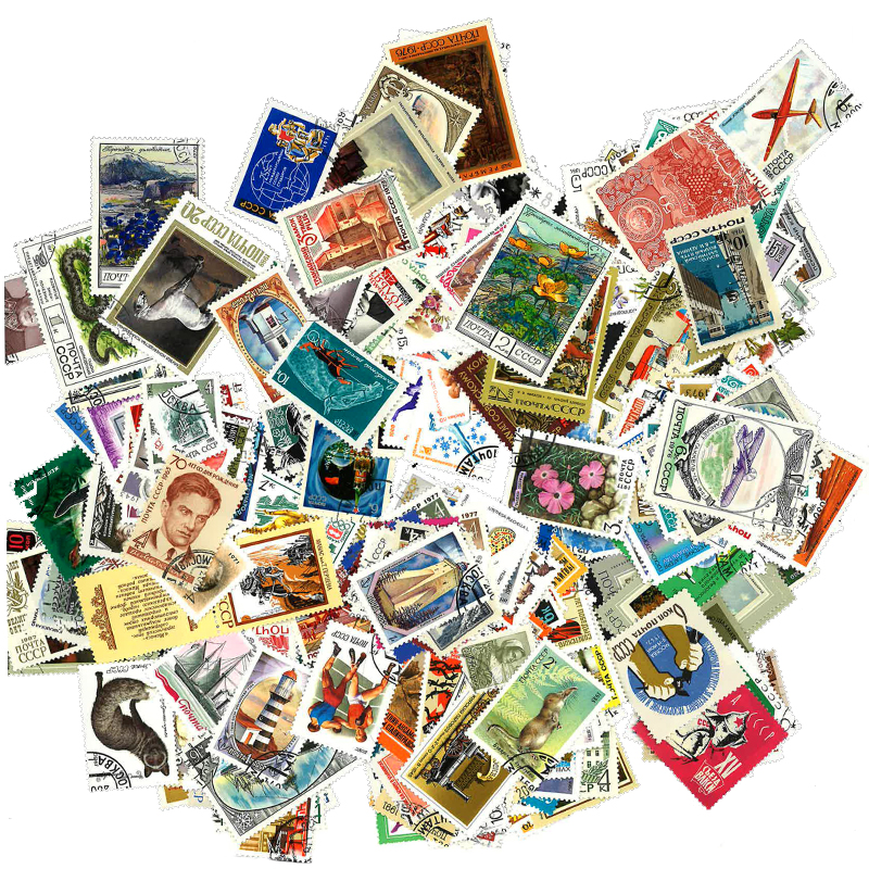 1000 PCS All Different CCCP Postage Stamps Collection