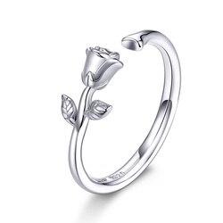 Женское кольцо с розовыми цветами BISAER, Открытое кольцо из стерлингового серебра с 925 пробы, ювелирное изделие, EFR065