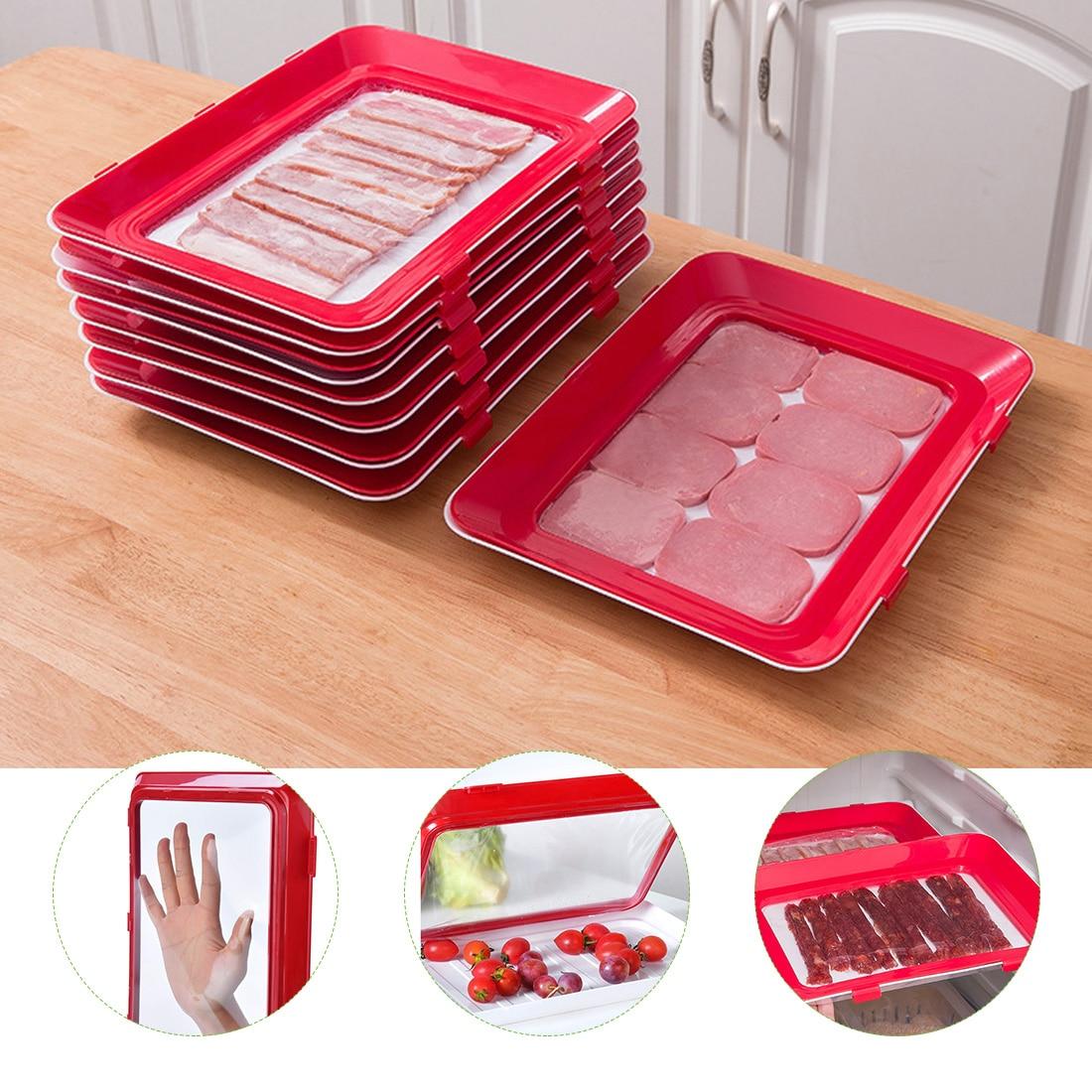 bandeja de vedação de alimentos para manter eles frescos na geladeira na cor branca com tampa vermelha e visor transparente