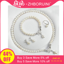 ZHBORUINI Earrings Bracelet Jewelry-Sets Pearl Necklace Women Gift Bow Natural Silver