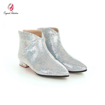 Original Intention Sexy Women Sequins Ankle Boots Pointed Toe Square Crystal Low Heels Boots Concise Shoes Woman Size 3-10.5