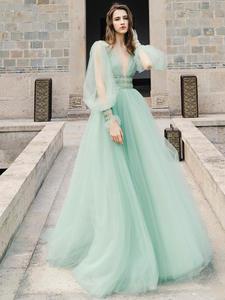 Verngo Party Dress V-Neck Evening Vestido-De-Gala Tulle Ruff-Sleeve Backless Green Fashion