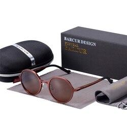 Мужские и женские круглые очки BARCUR, черные Винтажные Солнцезащитные очки в ретро стиле, UV400