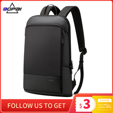 Laptop Backpack Business-Bag Office-Work Slim BOPAI Black Unisex Men Thin