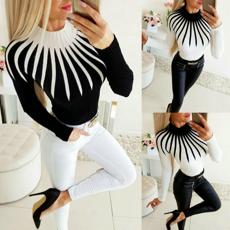 Women Color Matching Turtleneck Knitted Sweater Winter Fashion Ladies Warm Long Sleeve Slim fit Casual Clothing Pullover Top