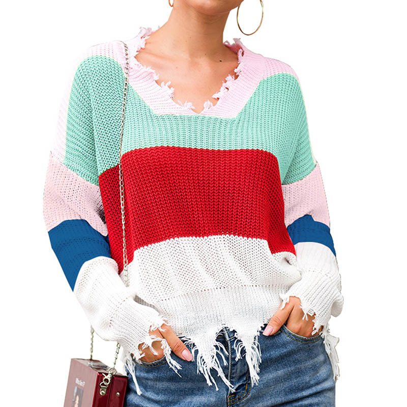 Tassel Pullovers Patchwork Colorful Sweaters Loose Women Casual Knitted Cotton Autumn Female Thin Sweater