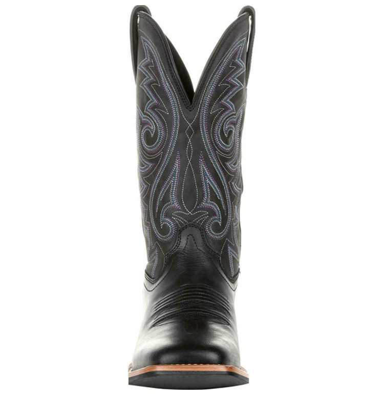 Front view of a Black Western Cowboy Motorcycle Boot