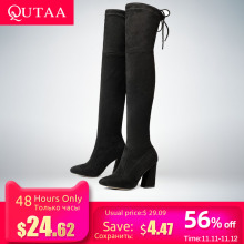 QUTAA Woman Shoes Boots Lace-Up Flock Over-The-Knee-Boots High-Heels Autumn Sexy New